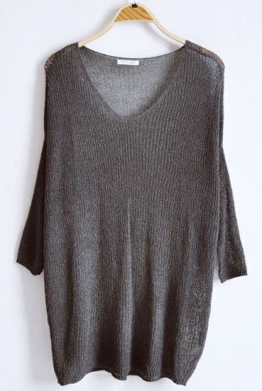 Dark Grey V-neck Long Sleeve Batwing Hollow Loose Sweater