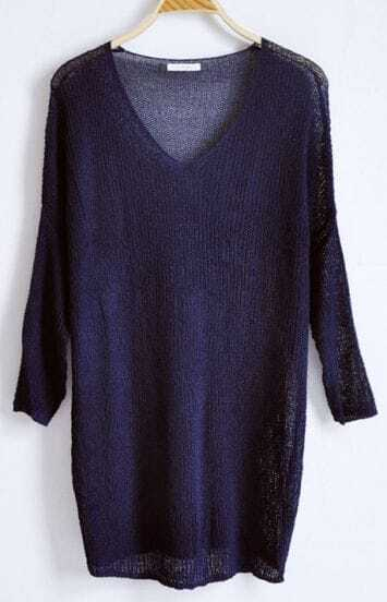 Navy V-neck Long Sleeve Batwing Hollow Loose Sweater