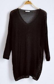 Black V-neck Long Sleeve Batwing Hollow Loose Sweater