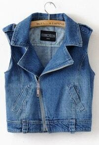 Blue Notch Lapel Zipper Pockets Tabs Shoulder Biker Denim Vest