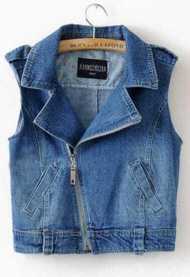 Blue Notch Lapel Zipper Pockets Tabs Shoulder Biker Denim Vest