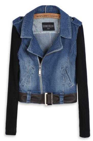 Blue Contrast Long Sleeve Belted Denim Biker Jacket