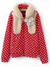 Red Long Sleeve Polka Dot Bubble Flower Collar Coat