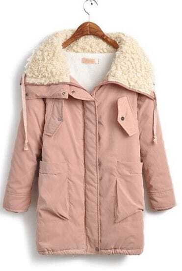 Pink Fur Collar Long Sleeve Big Pockets Front Parka