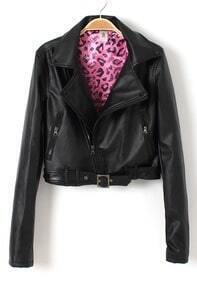 Black Long Sleeve PU Leather Belted Biker Jacket