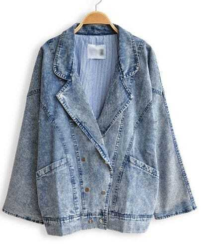Distressed Blue Batwing Long Sleeve Double Breasted Denim Coat