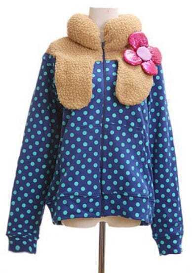 Blue Long Sleeve Polka Dot Bubble Flower Collar Coat
