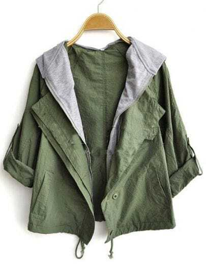 Army Green Roll Sleeve Contrast Hoody Drawstring Hem Coat