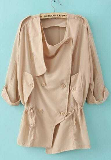 Khaki Red Half Sleeve Double Breasted Drawstring Chiffon Coat
