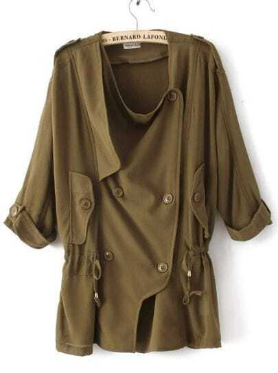 Army Green Half Sleeve Double Breasted Drawstring Chiffon Coat