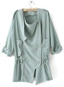 Light BLue Red Half Sleeve Double Breasted Drawstring Chiffon Coat