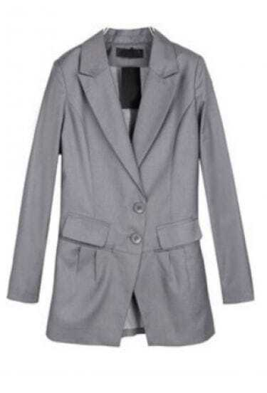Light Grey Two Buttons Pockets Pleated Pointed Hem Blazer
