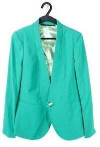 Green Shawl Notch Collar Curved Hem Long Sleeve Blazer