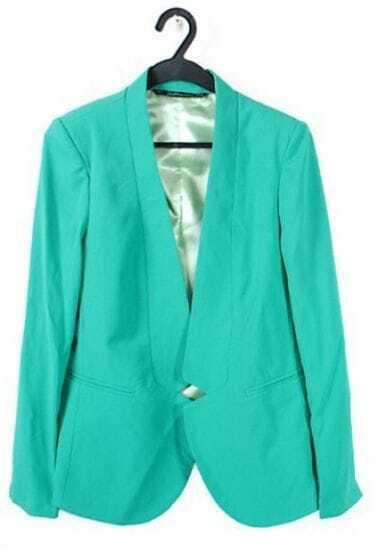 Green Shawl Notch Collar Curved Hem Long Sleeve Blazer