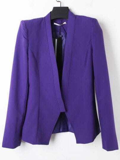 Purple V-neck One Button Long Sleeve Slim Tuxedo Blazer