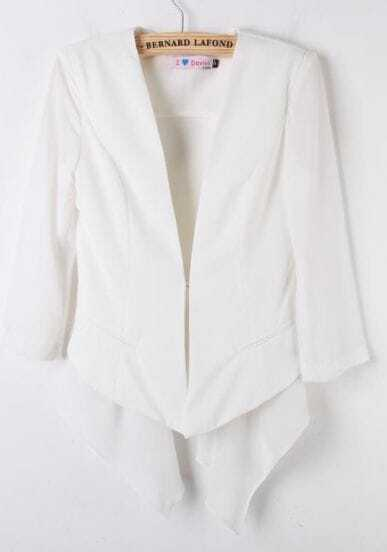 White V-neck One Button Contrast Asymmetric Chiffon Hem Blazer