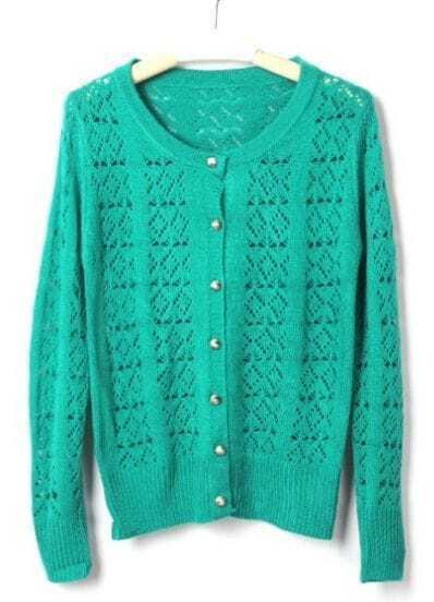 Green Long Sleeve Rhombus Holly Metal Button Cardigan