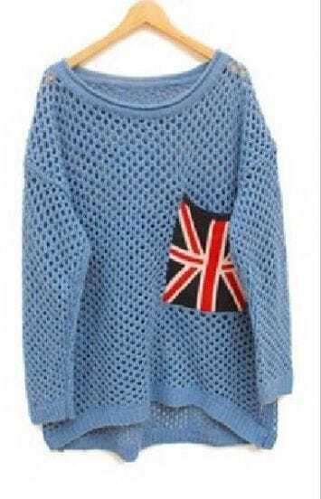 Light Blue Long Sleeve Union Jack Pocket Open Stitch Jumper