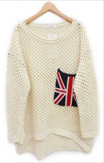 Beige Long Sleeve Union Jack Pocket Open Stitch Jumper