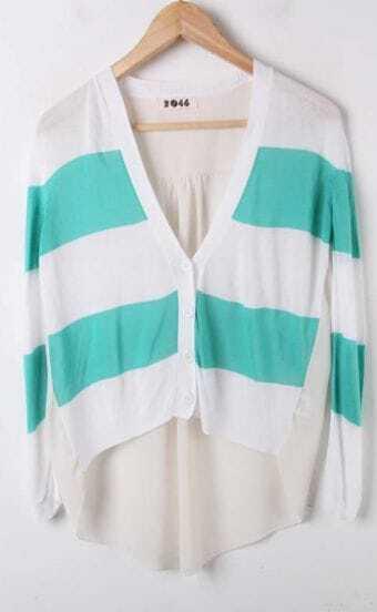 Green White Striped Long Sleeve V-neck Contrast Chiffon Back Cardigan