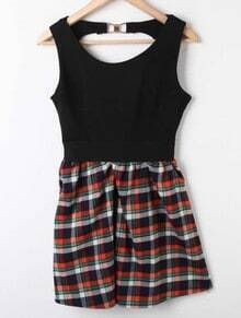 Black Green Plaid High Waist Hollow Pleated Dress