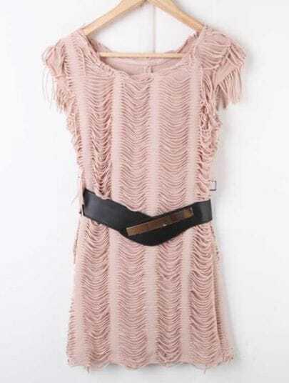 Khaki Tassel High Waist Bodycon Cotton Dress