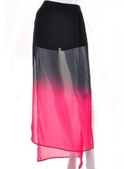 Rose Red Gradual Change Split Full Length Skirt