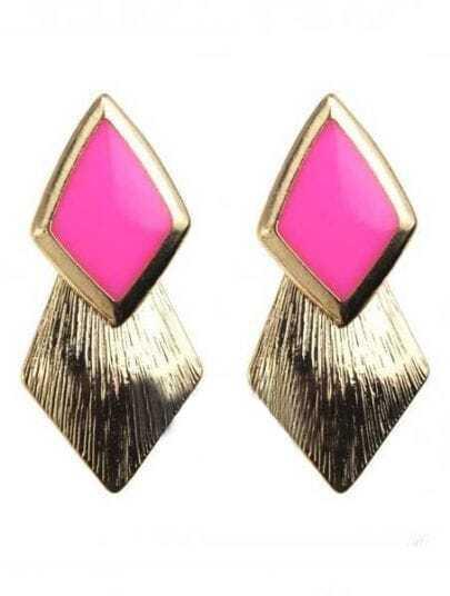 Pink Gemstone Gold Rhombus Stud Earrings