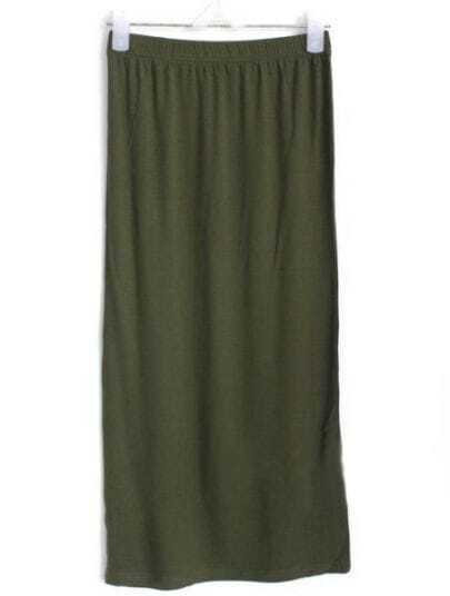 Army Green Street Bodycon Modal Split Skirt