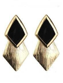 Black Gemstone Gold Rhombus Stud Earrings