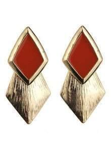 Orange Gemstone Gold Rhombus Stud Earrings
