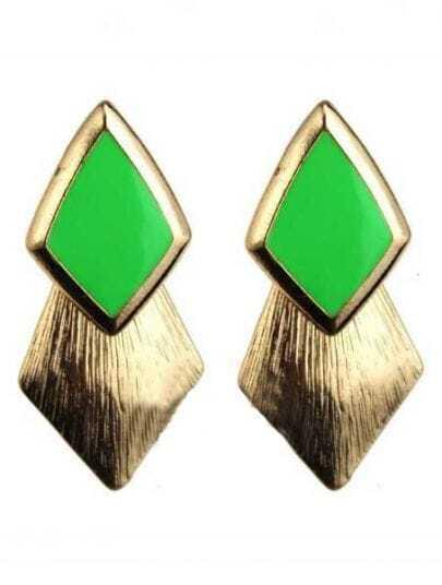 Green Gemstone Gold Rhombus Stud Earrings