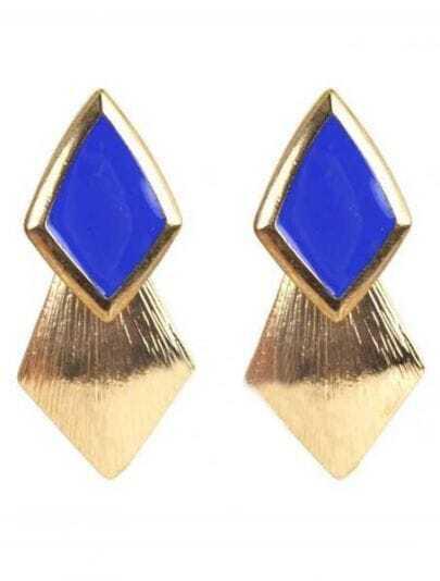 Blue Gemstone Gold Rhombus Stud Earrings