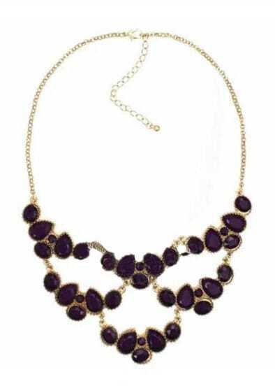 Purple Teardrop Gemstone Gold Mask Necklace