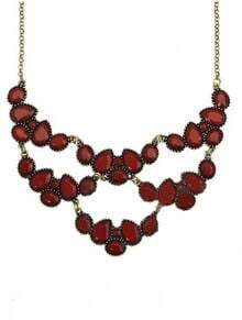 Brown Teardrop Gemstone Gold Mask Necklace