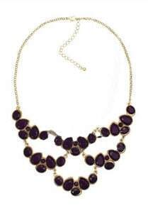 Purple Teardrop Gemstone Gold Mask Necklace