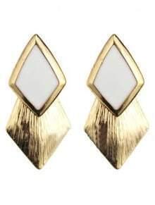 White Gemstone Gold Rhombus Stud Earrings