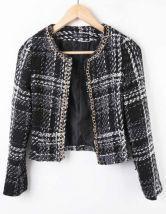 Black Chain Trim Plaid Tweed Open Woolen Coat