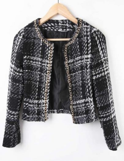 Black Chain Trim Plaid Tweed Open Woolen Coat