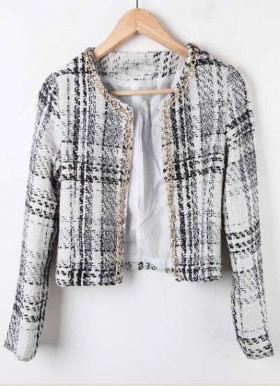White Chain Trim Plaid Tweed Open Woolen Coat