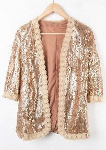 Gold Embroidery Trim Sequined Half Sleeve Open Coat