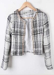 White Chain Trim Plaid Tweed Open Woolen Coat