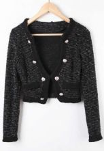 Black Double Breasted Contrast Trims Crop Tweed Woolen Coat