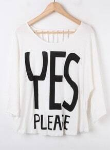 White YES PLEASE Print Hollow Back Batwing Sleeve T-Shirt