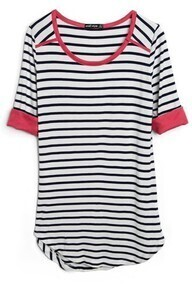 Blue White Striped Half Sleeve Curved Hem Cotton T-Shirt
