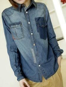 Blue Lapel Single Breasted Pockets Denim Shirt