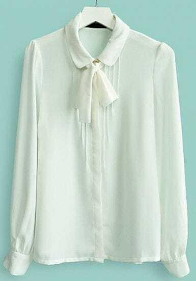 White Bow Front Peter Pan Collar Pintucks Chiffon Shirt
