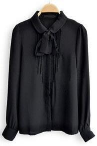 Black Bow Front Peter Pan Collar Pintucks Chiffon Shirt