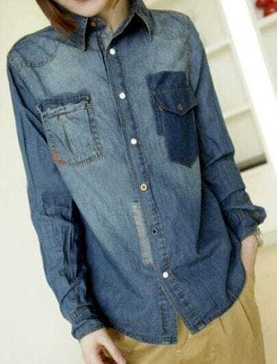 Blue Lapel Single Breasted Pockets Denim Shirt