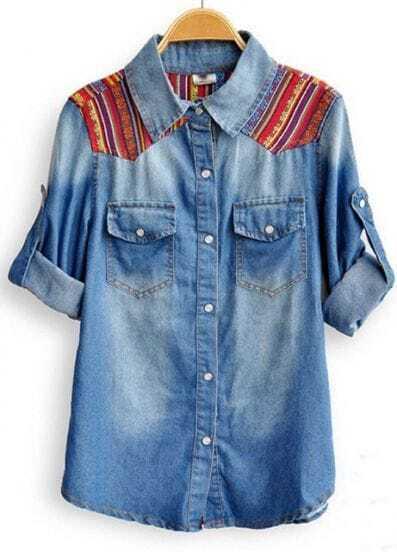 Blue Rolled Long Sleeve Patched Shoulder Pockets Denim Shirt